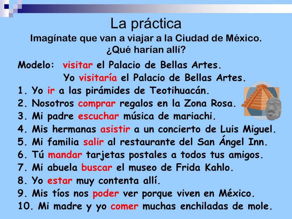 La práctica Imagínate que van a viajar a la Ciudad de México.