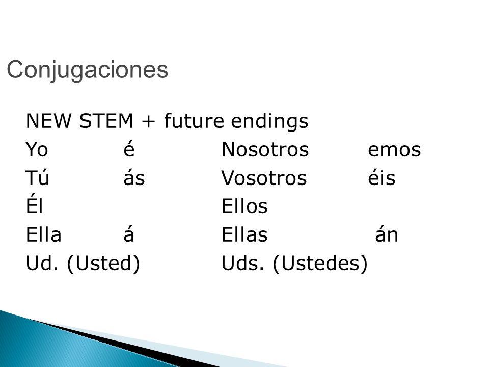 Conjugaciones NEW STEM + future endings Yo é Nosotros emos TúásVosotros éis Él Ellos Ella áEllas án Ud.