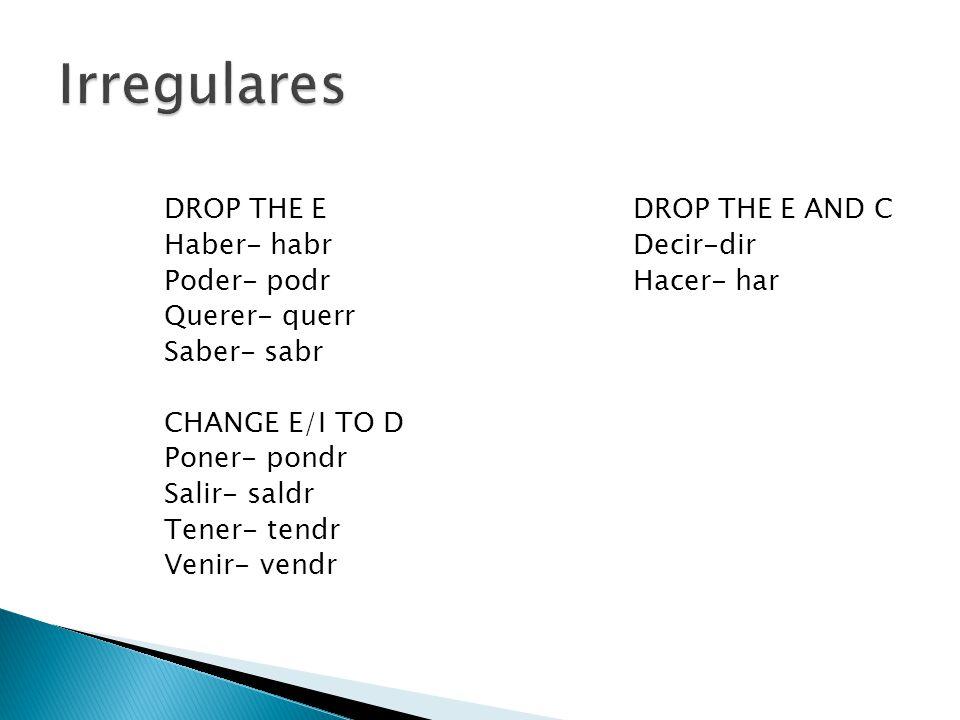 DROP THE EDROP THE E AND C Haber- habrDecir-dir Poder- podrHacer- har Querer- querr Saber- sabr CHANGE E/I TO D Poner- pondr Salir- saldr Tener- tendr Venir- vendr