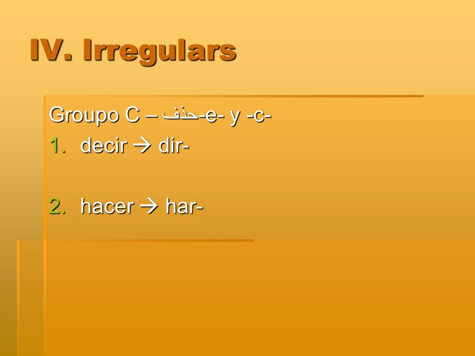 IV. Irregulars Groupo C –حذف -e- y -c- 1.decir  dir- 2.hacer  har-