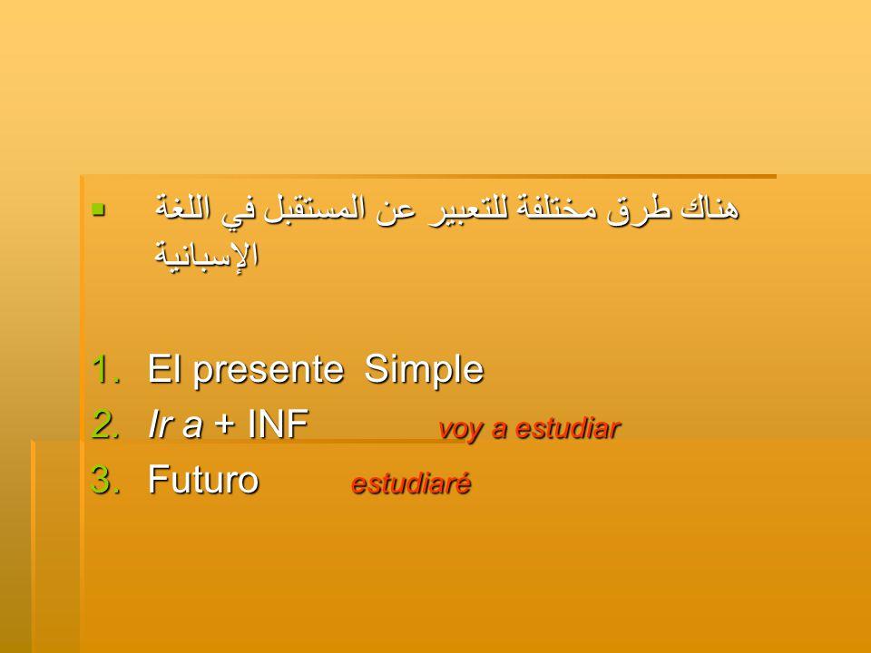  هناك طرق مختلفة للتعبير عن المستقبل في اللغة الإسبانية 1.El presente Simple 2.Ir a + INF voy a estudiar 3.Futuro estudiaré