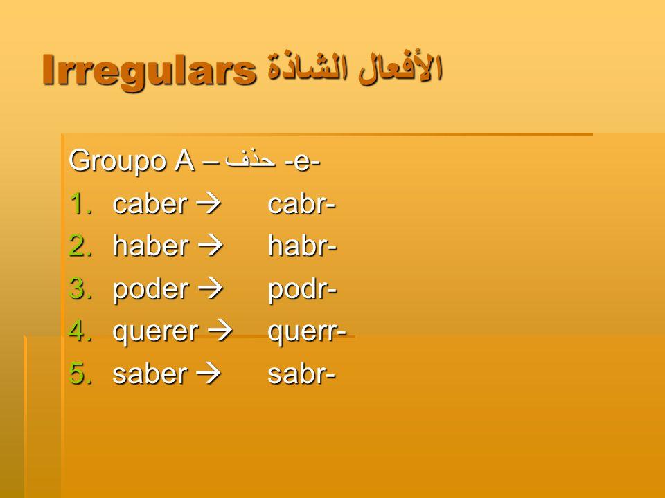 Irregulars الأفعال الشاذة Groupo A –حذف -e- 1.caber  cabr- 2.haber  habr- 3.poder  podr- 4.querer  querr- 5.saber  sabr-
