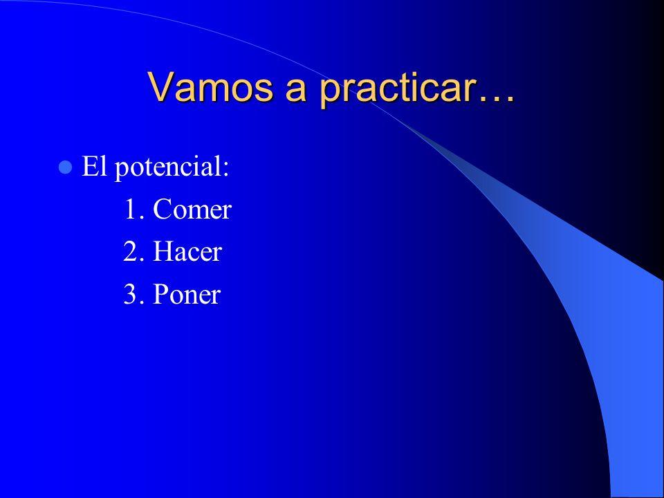 Vamos a practicar… El potencial: 1. Comer 2. Hacer 3. Poner