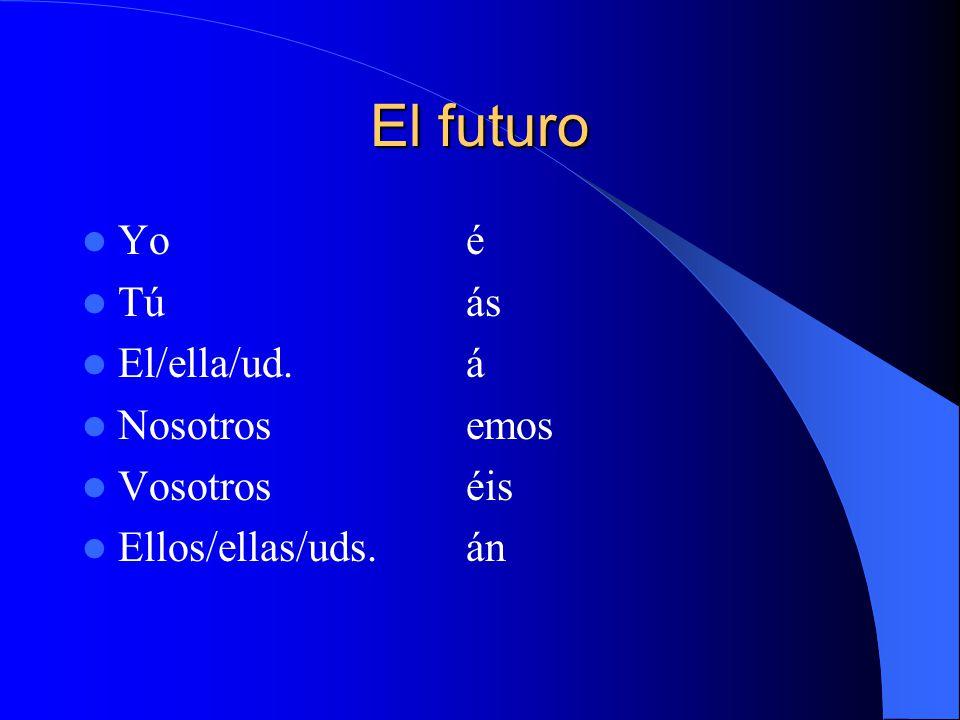 El futuro Yoé Túás El/ella/ud.á Nosotrosemos Vosotroséis Ellos/ellas/uds.án