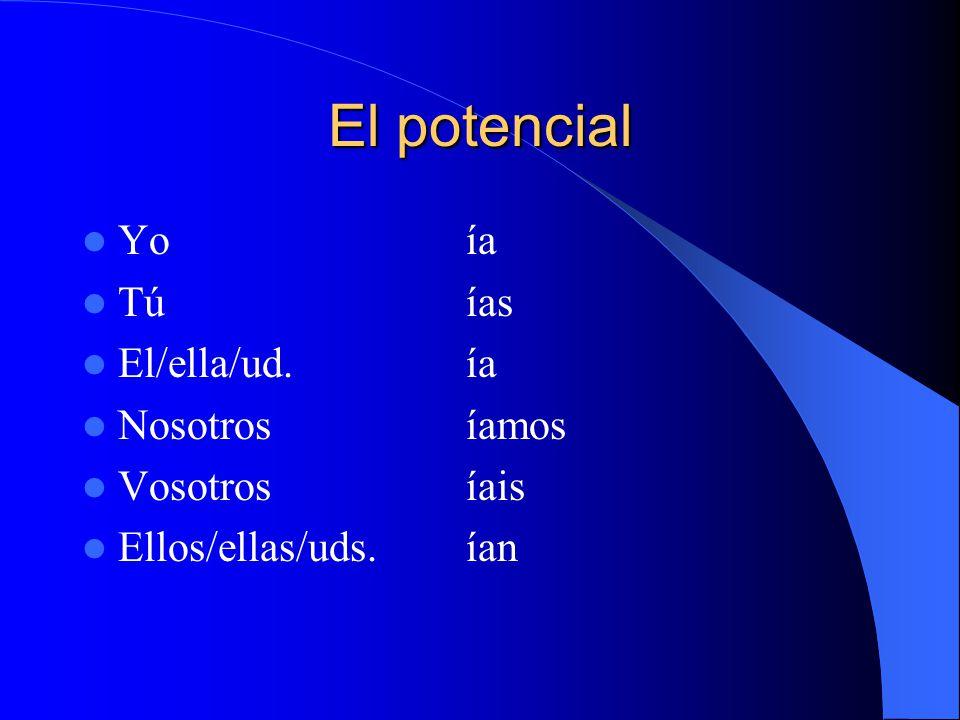 El potencial Yoía Túías El/ella/ud.ía Nosotrosíamos Vosotrosíais Ellos/ellas/uds.ían