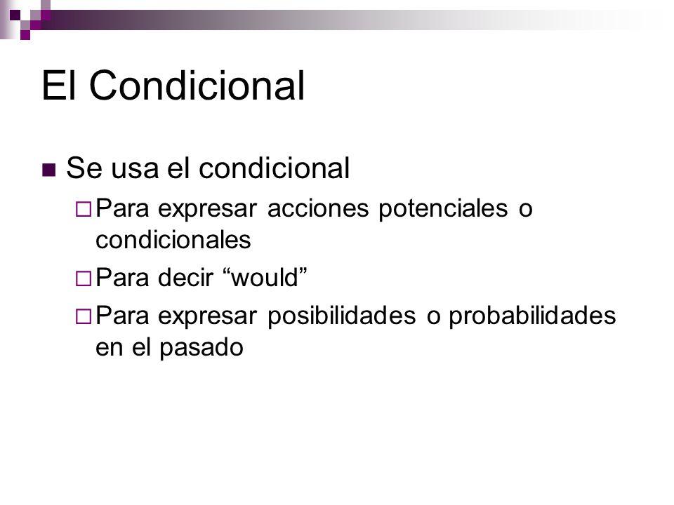 El Condicional Se usa el condicional  Para expresar acciones potenciales o condicionales  Para decir would  Para expresar posibilidades o probabilidades en el pasado