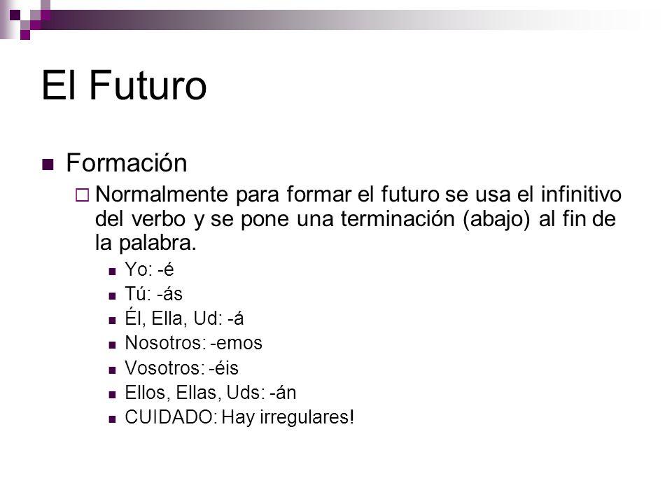 El Futuro Formación  Normalmente para formar el futuro se usa el infinitivo del verbo y se pone una terminación (abajo) al fin de la palabra.