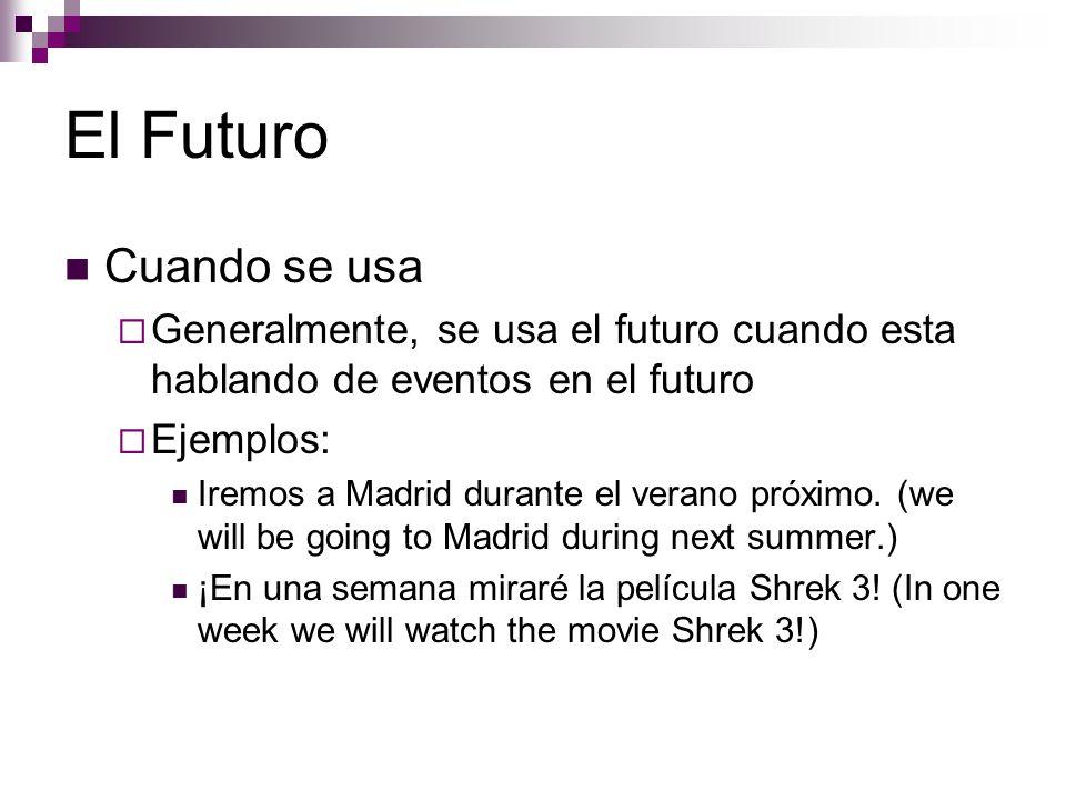 El Futuro Cuando se usa  Generalmente, se usa el futuro cuando esta hablando de eventos en el futuro  Ejemplos: Iremos a Madrid durante el verano próximo.