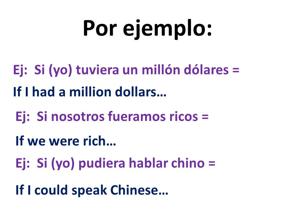 In Spanish, we make hypothetical statements… IF … using: Si (if) + imperfect subjunctive *You only have to know these four if clauses as vocabulary: 1.Si pudiera= 2.Si fuera= 3.Si tuviera= 4.*Si estuviera= (Please add!) If I, you, he etc.