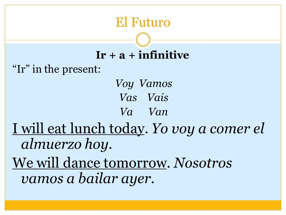 El Futuro Ir + a + infinitive Ir in the present: Voy Vamos Vas Vais Va Van I will eat lunch today.