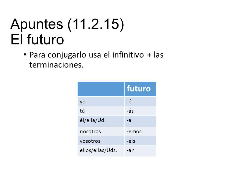 Apuntes (11.2.15) El futuro Para conjugarlo usa el infinitivo + las terminaciones.
