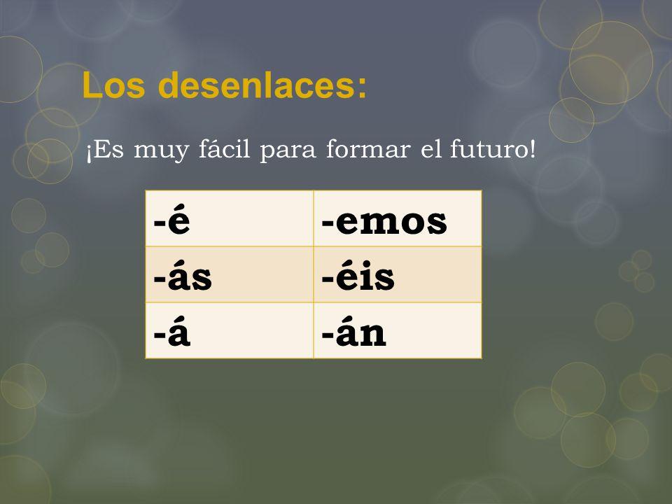 Los desenlaces: -é-emos -ás-éis -á-án ¡Es muy fácil para formar el futuro!
