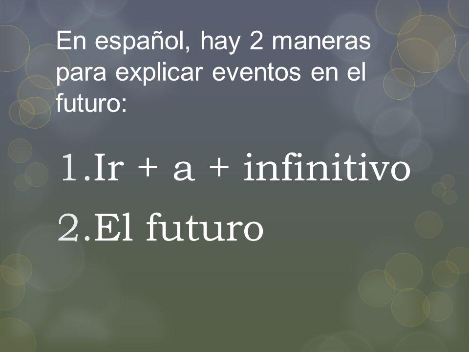 En español, hay 2 maneras para explicar eventos en el futuro: 1.Ir + a + infinitivo 2.El futuro