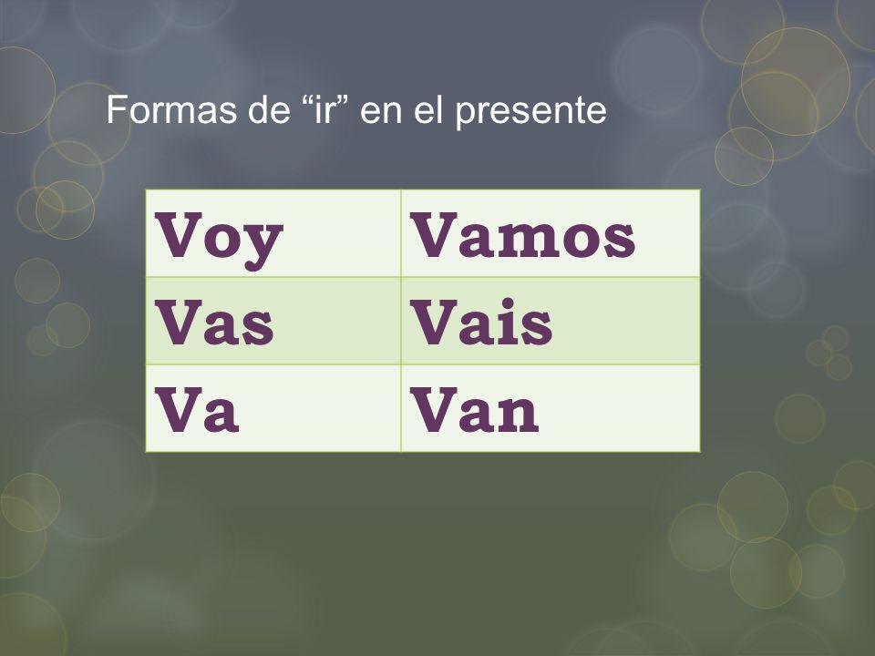 Formas de ir en el presente VoyVamos VasVais VaVan