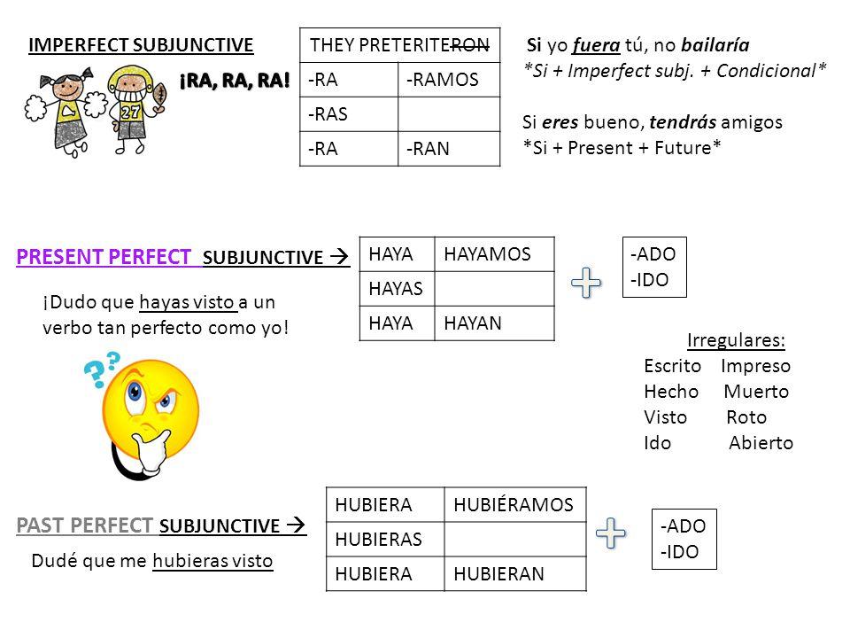 THEY PRETERITERON -RA-RAMOS -RAS -RA-RAN IMPERFECT SUBJUNCTIVE  PRESENT PERFECT SUBJUNCTIVE  PAST PERFECT SUBJUNCTIVE  HAYAHAYAMOS HAYAS HAYAHAYAN HUBIERAHUBIÉRAMOS HUBIERAS HUBIERAHUBIERAN -ADO -IDO -ADO -IDO Irregulares: Escrito Impreso Hecho Muerto Visto Roto IdoAbierto ¡Dudo que hayas visto a un verbo tan perfecto como yo.