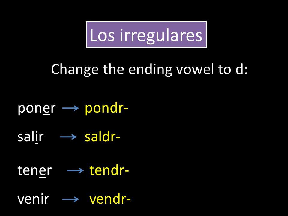 poner salir tener pondr- saldr- tendr- Los irregulares Change the ending vowel to d: venirvendr-