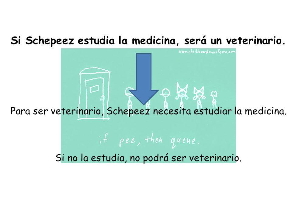 Si Schepeez estudia la medicina, será un veterinario.