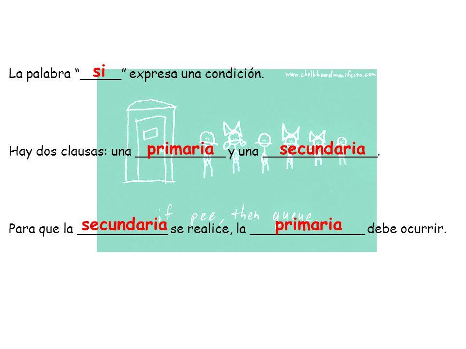 La palabra _____ expresa una condición. Hay dos clausas: una ___________ y una ______________.