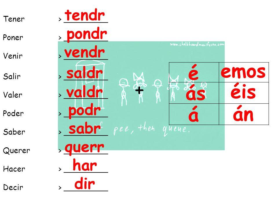 Tener> _________ Poner> _________ Venir> _________ Salir > _________ Valer > _________ Poder> _________ Saber> _________ Querer> _________ Hacer> _________ Decir> _________ + é ás á emos éis án tendr pondr vendr saldr valdr podr sabr querr har dir