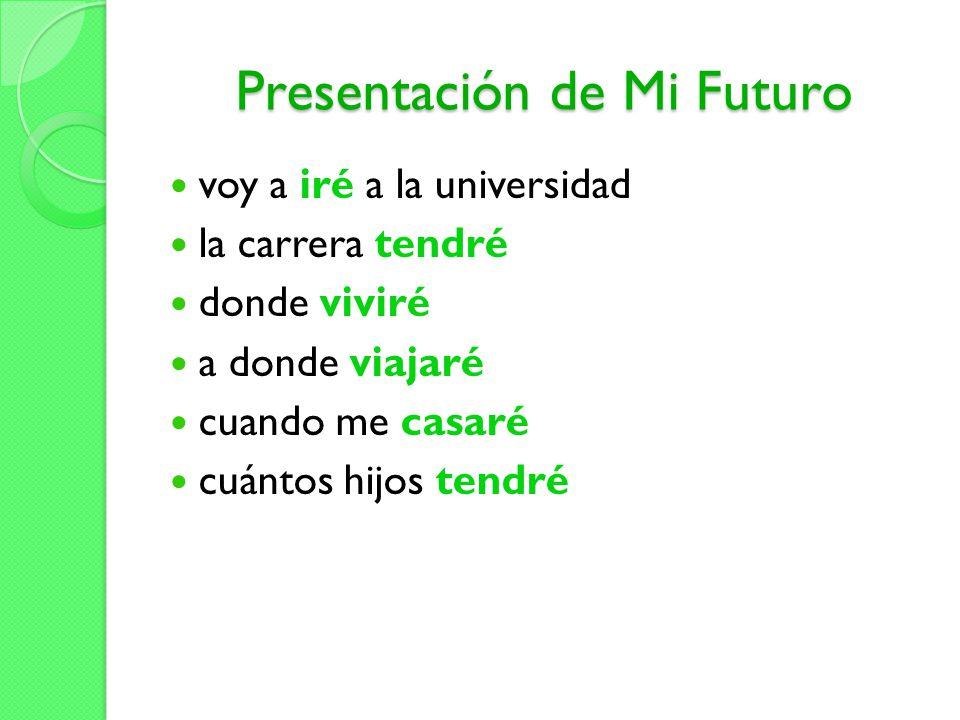 Presentación de Mi Futuro voy a iré a la universidad la carrera tendré donde viviré a donde viajaré cuando me casaré cuántos hijos tendré