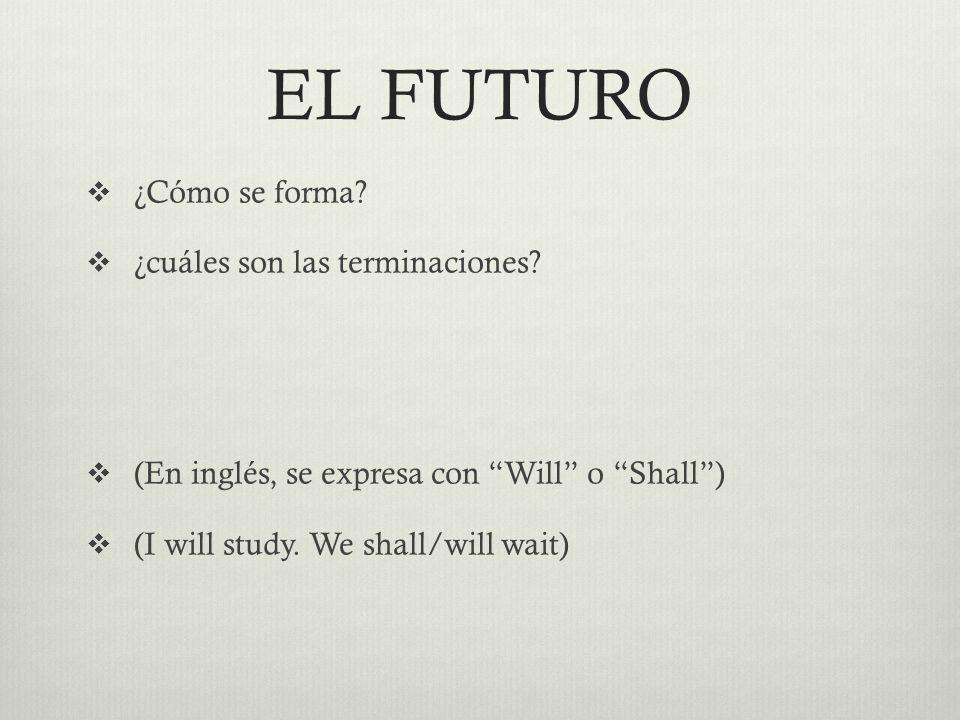 EL FUTURO  ¿Cómo se forma.  ¿cuáles son las terminaciones.