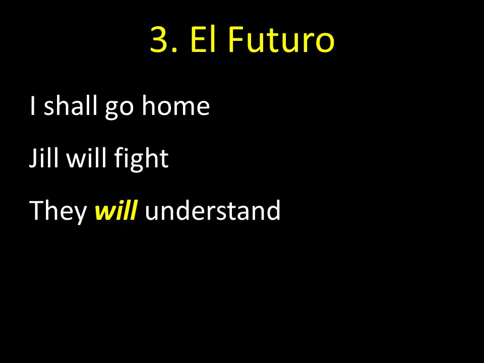 3. El Futuro I shall go home Jill will fight They will understand