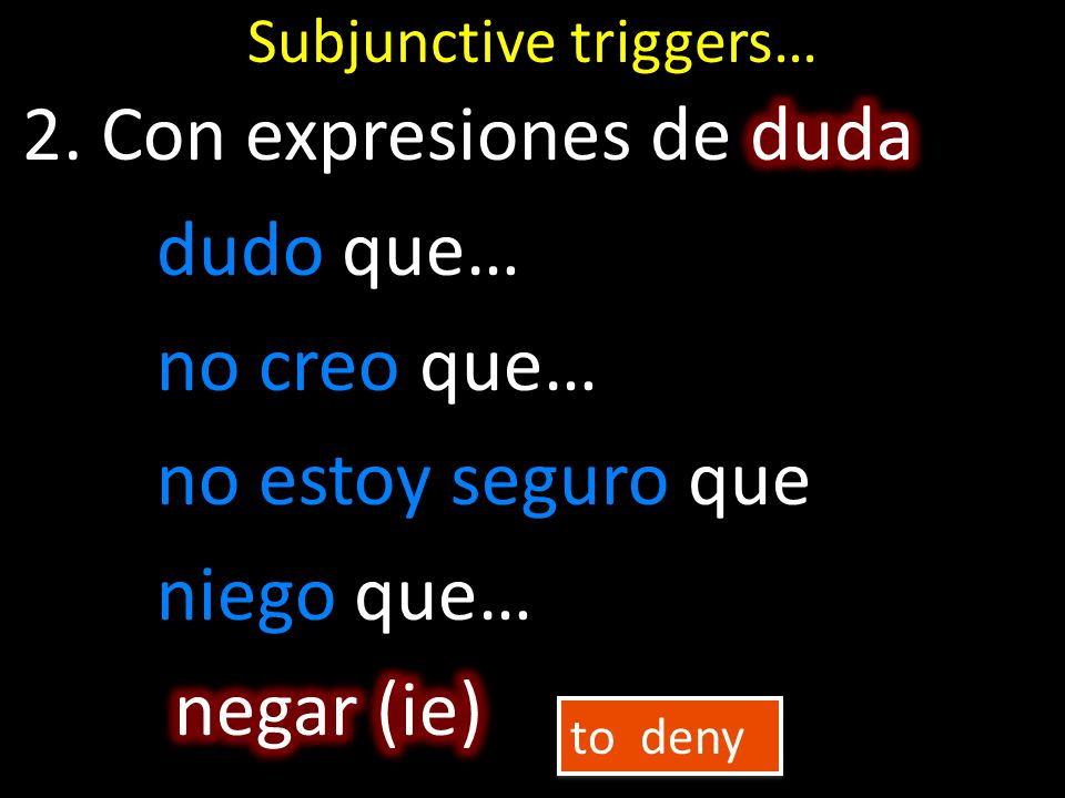 Subjunctive triggers… to deny