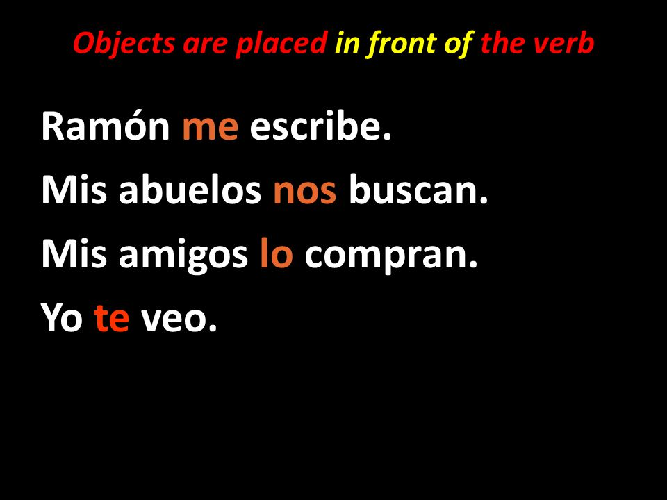 Objects are placed in front of the verb Ramón me escribe.