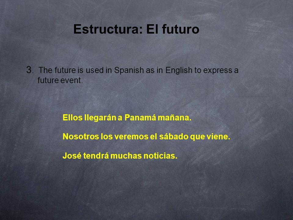 Estructura: El futuro INFINITIVE decirpodersalir yo tú él, ella, Ud.