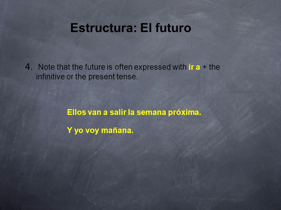 Estructura: El futuro 3. The future is used in Spanish as in English to express a future event.