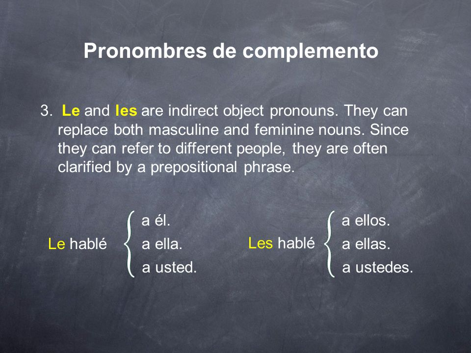 Pronombres de complemento 2. The pronouns lo, la, los, and las are direct object pronouns.