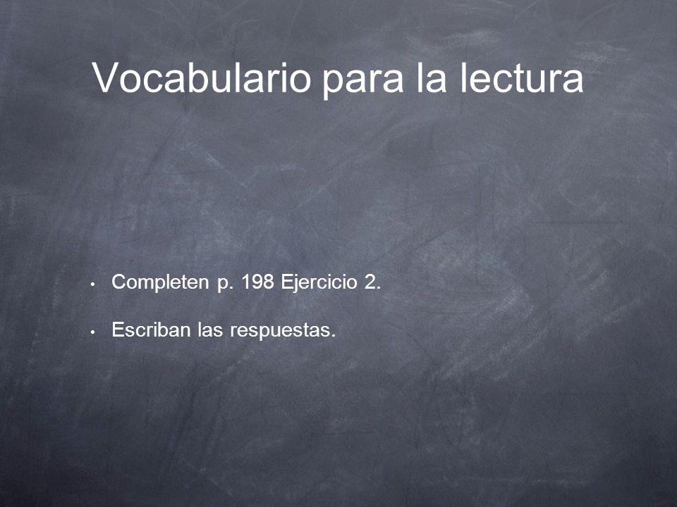 Vocabulario para la lectura p.