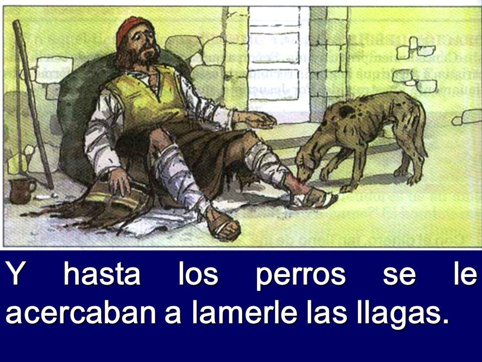 Y un mendigo llamado Lázaro estaba echado en su portal, cubierto de llagas, y con ganas de saciarse de lo que tiraban de la mesa del rico.