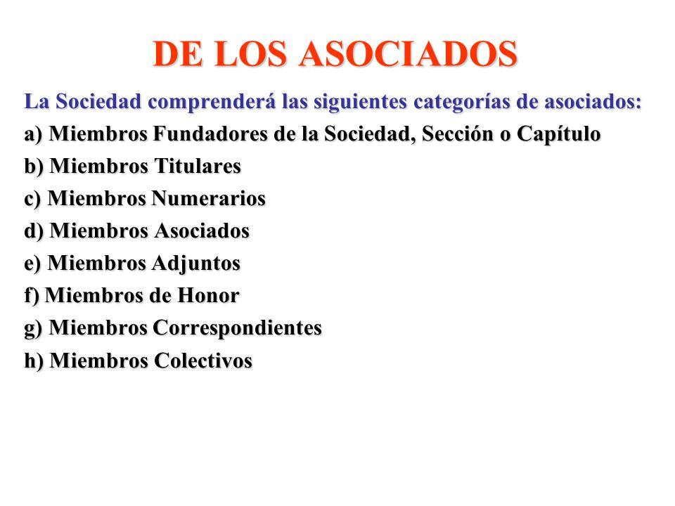 DE LOS ASOCIADOS La Sociedad comprenderá las siguientes categorías de asociados: a) Miembros Fundadores de la Sociedad, Sección o Capítulo b) Miembros Titulares c) Miembros Numerarios d) Miembros Asociados e) Miembros Adjuntos f) Miembros de Honor g) Miembros Correspondientes h) Miembros Colectivos
