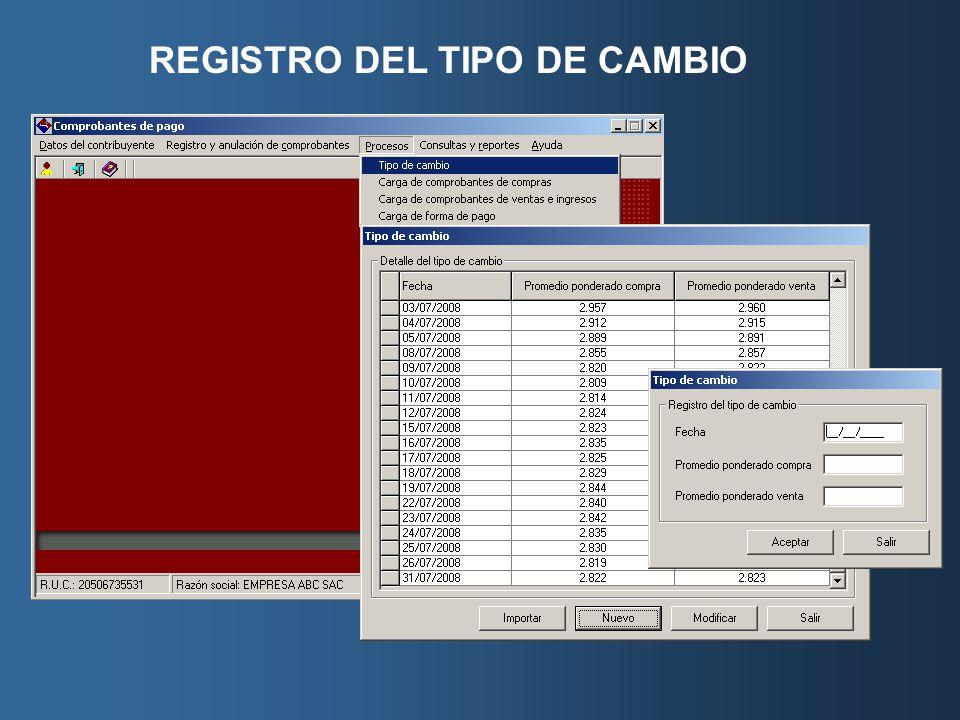 REGISTRO DEL TIPO DE CAMBIO
