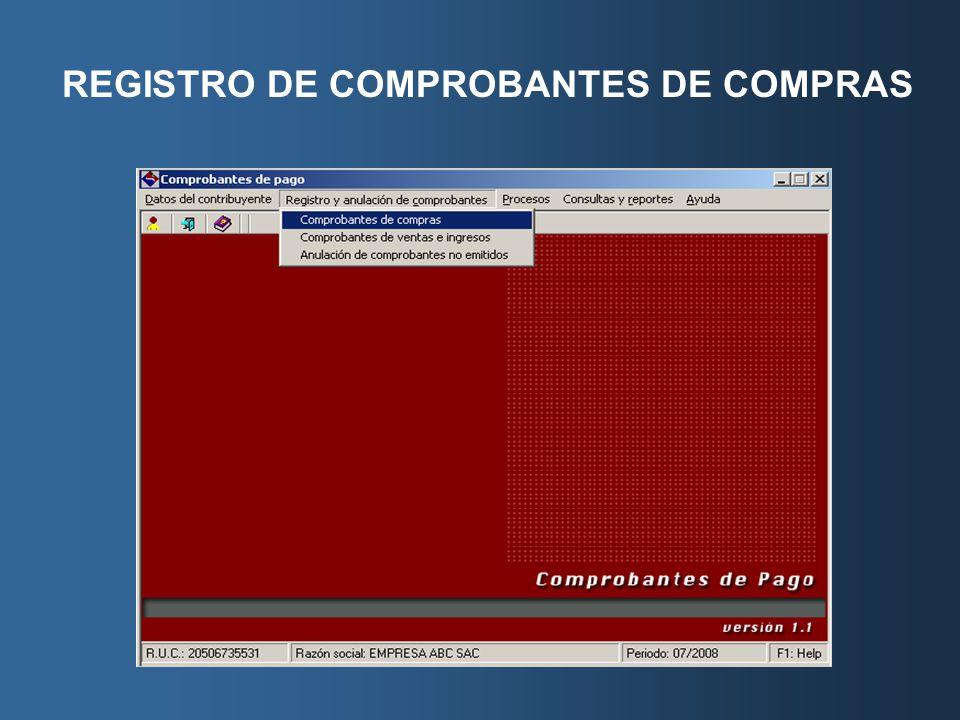 REGISTRO DE COMPROBANTES DE COMPRAS
