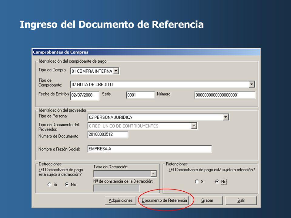 Ingreso del Documento de Referencia