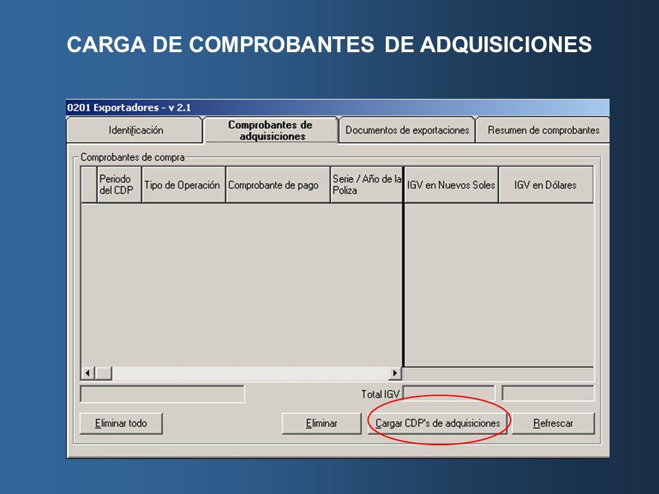 CARGA DE COMPROBANTES DE ADQUISICIONES