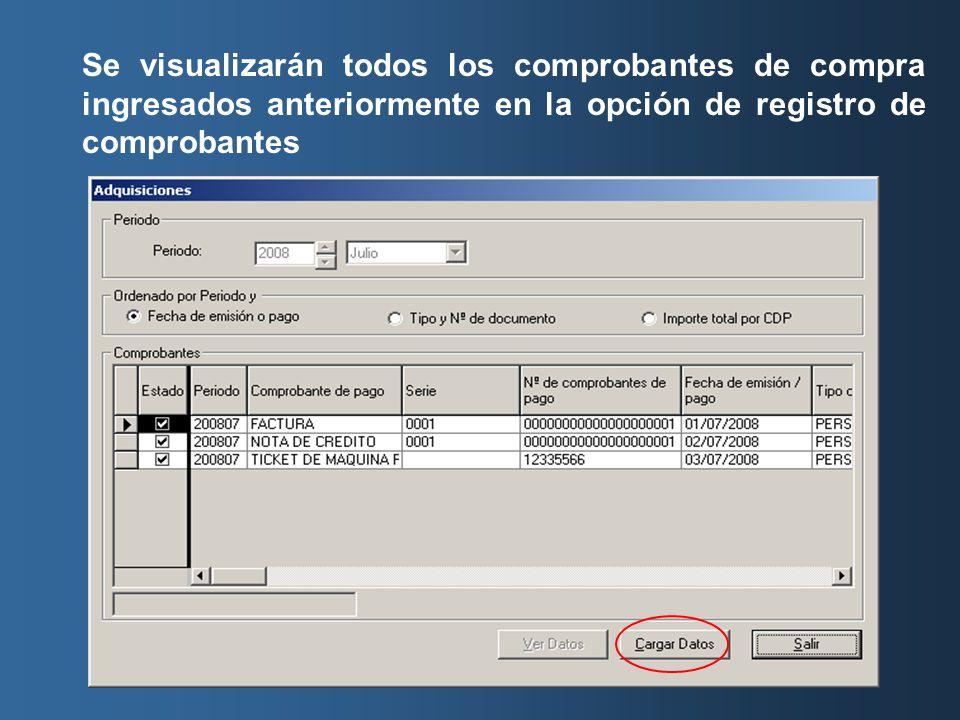 Se visualizarán todos los comprobantes de compra ingresados anteriormente en la opción de registro de comprobantes