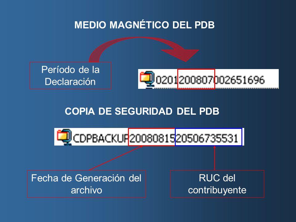 MEDIO MAGNÉTICO DEL PDB Período de la Declaración COPIA DE SEGURIDAD DEL PDB Fecha de Generación del archivo RUC del contribuyente