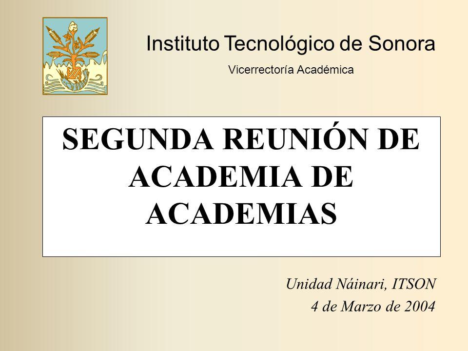 SEGUNDA REUNIÓN DE ACADEMIA DE ACADEMIAS Unidad Náinari, ITSON 4 de Marzo de 2004 Instituto Tecnológico de Sonora Vicerrectoría Académica