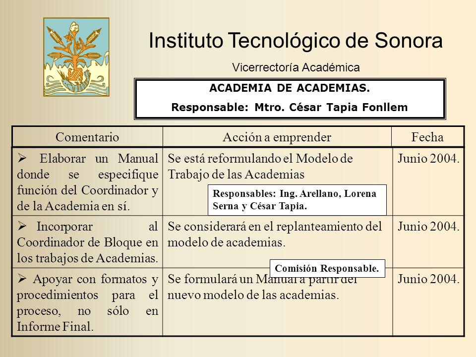 Instituto Tecnológico de Sonora Vicerrectoría Académica ComentarioAcción a emprenderFecha  Elaborar un Manual donde se especifique función del Coordinador y de la Academia en sí.