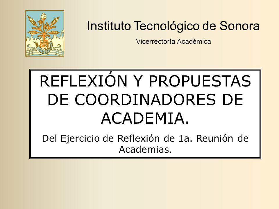 Instituto Tecnológico de Sonora Vicerrectoría Académica REFLEXIÓN Y PROPUESTAS DE COORDINADORES DE ACADEMIA.