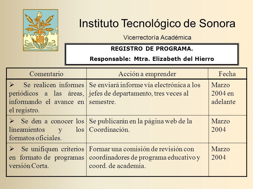 Instituto Tecnológico de Sonora Vicerrectoría Académica ComentarioAcción a emprenderFecha  Se realicen informes periódicos a las áreas, informando el avance en el registro.