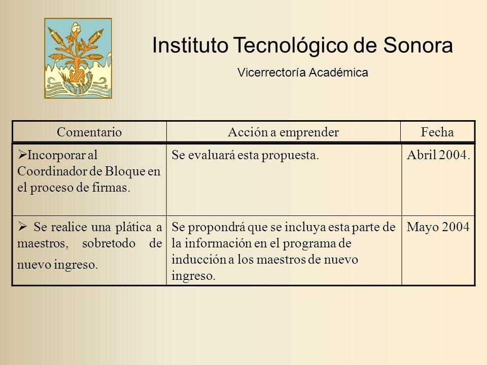 Instituto Tecnológico de Sonora Vicerrectoría Académica ComentarioAcción a emprenderFecha  Incorporar al Coordinador de Bloque en el proceso de firmas.