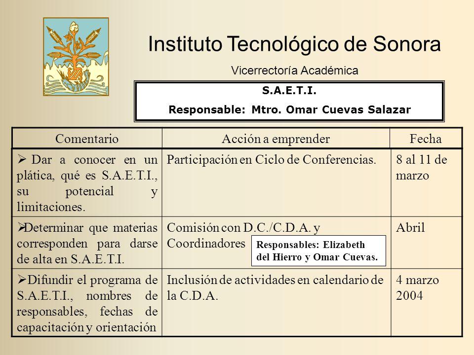 Instituto Tecnológico de Sonora Vicerrectoría Académica ComentarioAcción a emprenderFecha  Dar a conocer en un plática, qué es S.A.E.T.I., su potencial y limitaciones.