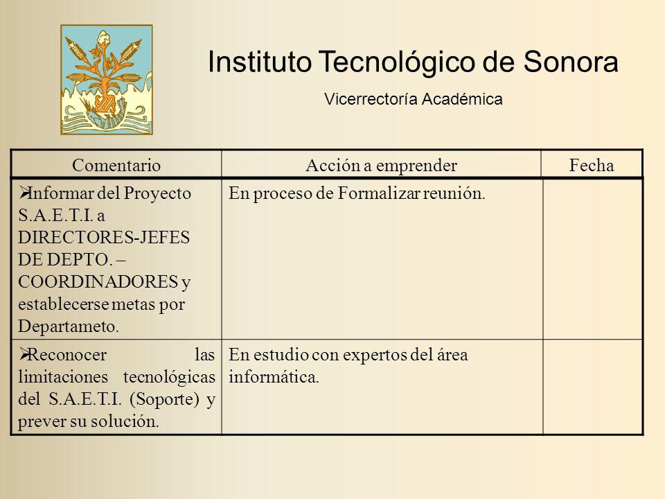 Instituto Tecnológico de Sonora Vicerrectoría Académica ComentarioAcción a emprenderFecha  Informar del Proyecto S.A.E.T.I.