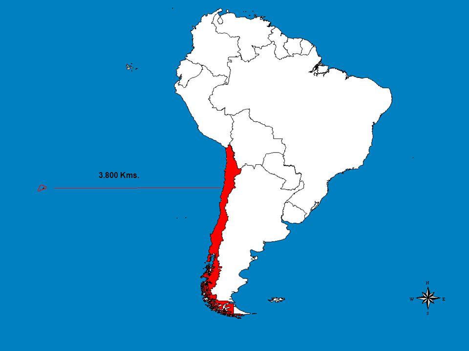 Ubicación de Isla de Pascua en Sudamérica. 3.800 Kms.
