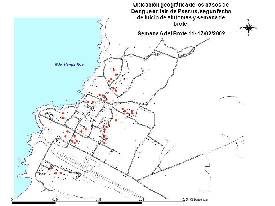 Ubicación geográfica de los casos de Dengue en Isla de Pascua, según fecha de inicio de síntomas y semana de brote.