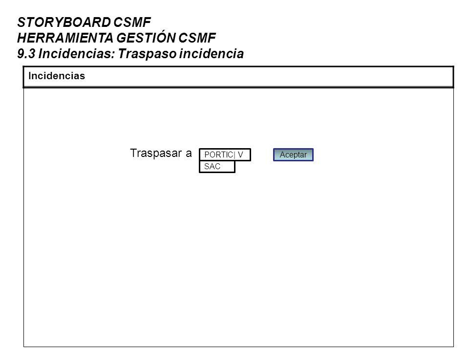 STORYBOARD CSMF HERRAMIENTA GESTIÓN CSMF 9.3 Incidencias: Traspaso incidencia Incidencias Traspasar a PORTIC| V SAC Aceptar